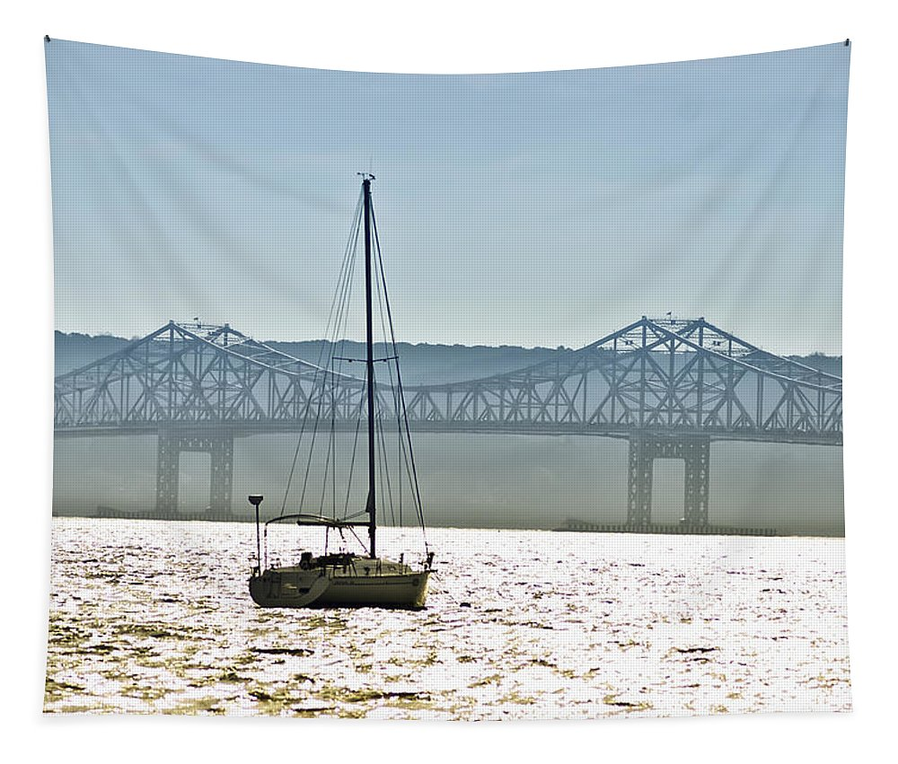 Tappan Zee Bridge Tapestry featuring the photograph Sailboat And The Tappan Zee Bridge by Bill Cannon