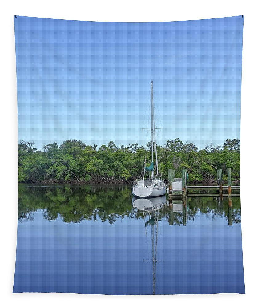 Fort Myers Tapestry featuring the photograph Sailboat At Dock Florida by Edward Fielding