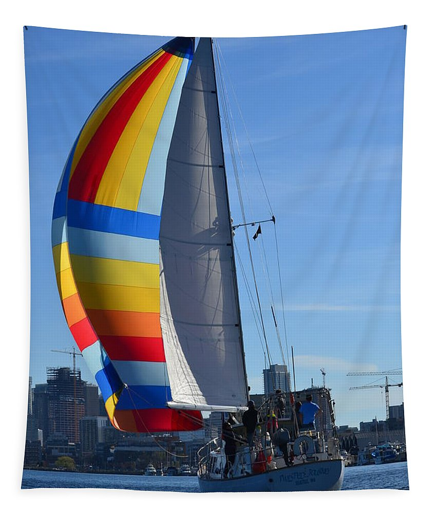 Sailboat Tapestry featuring the photograph Sailboat In Seattle by Colleen Phaedra