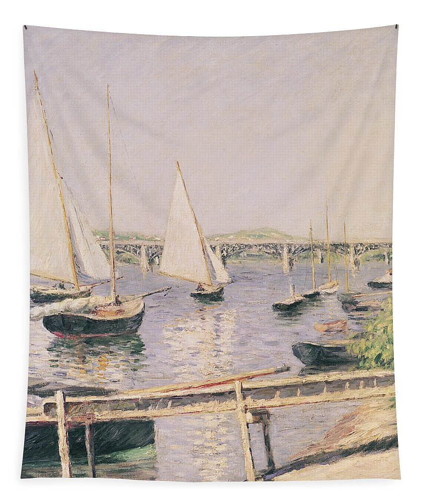Yachting Tapestry featuring the painting Sailing Boats At Argenteuil by Gustave Caillebotte