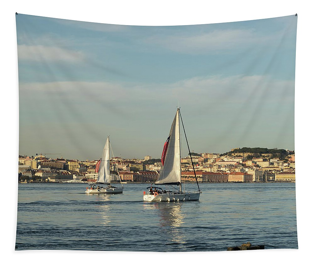 Georgia Mizuleva Tapestry featuring the photograph Sailing In Lisbon Portugal by Georgia Mizuleva