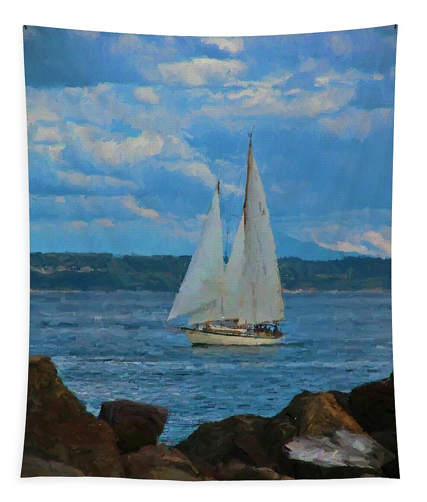 Sailing On A Summer Day Tapestry featuring the painting Sailing On A Summer Day by Dan Sproul