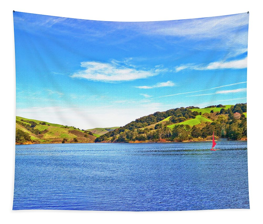 San-pablo-dam Tapestry featuring the photograph Sailing On San Pablo Dam Reservoir by Joyce Dickens