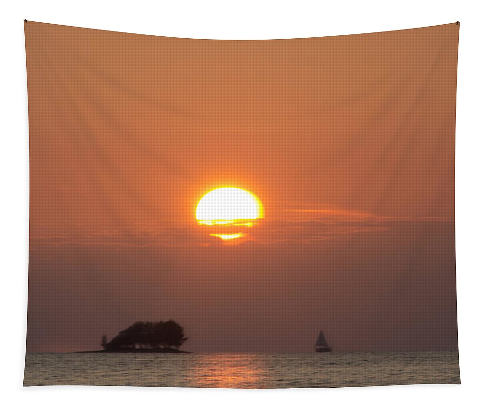 Sailing Tapestry featuring the photograph Sailing Through The Islands At Sunset by Bill Cannon