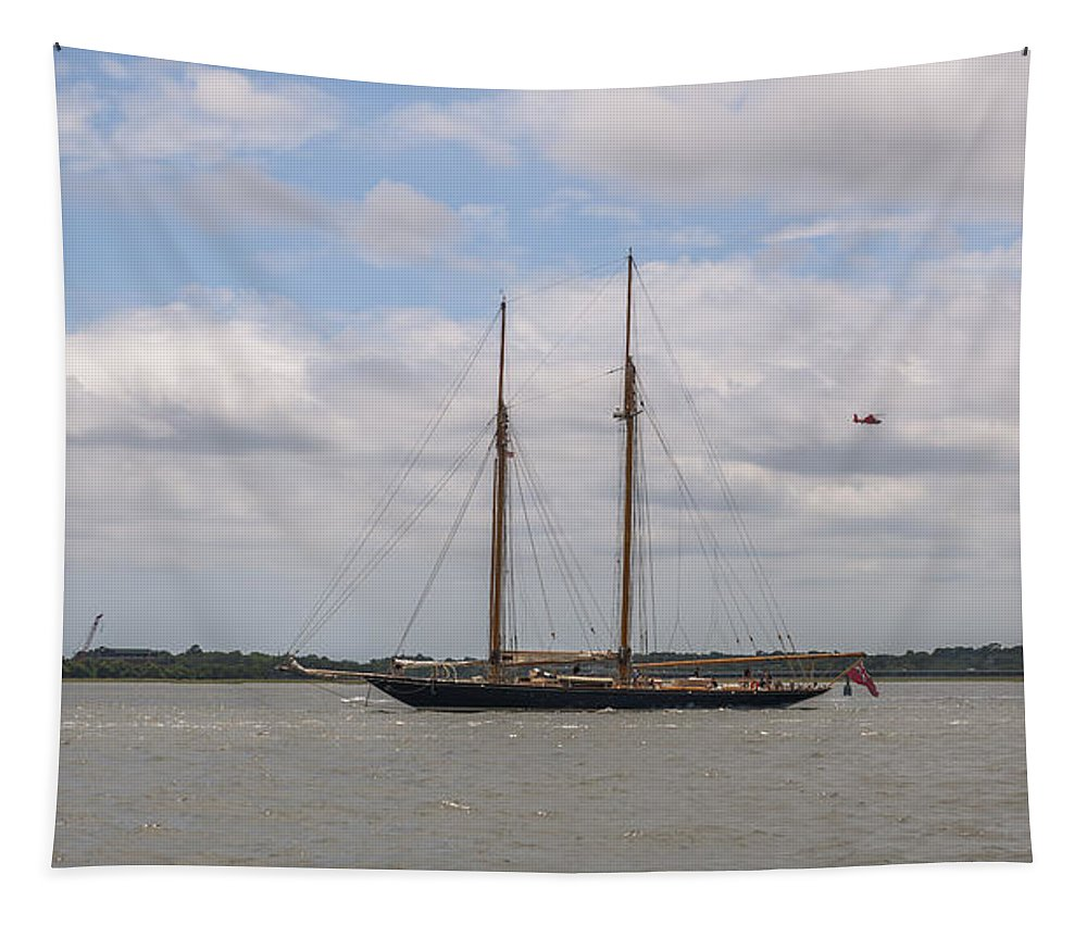 Sailboat Tapestry featuring the photograph Sailing Under British Flag by Dale Powell