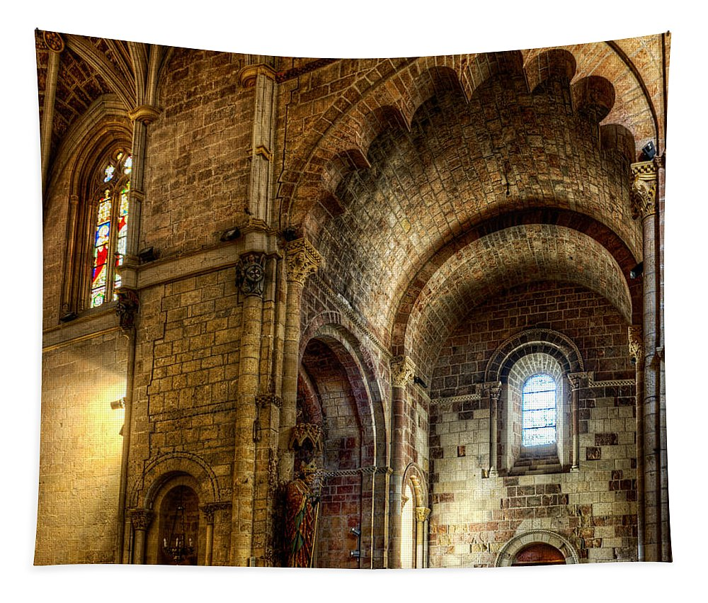 Romanesque Tapestry featuring the photograph Saint Isidore - Romanesque Temple Transept by Weston Westmoreland