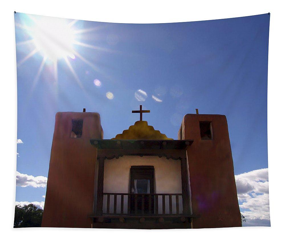Taos Tapestry featuring the photograph Saint Jeromes Chapel Taos Pueblo by Kurt Van Wagner