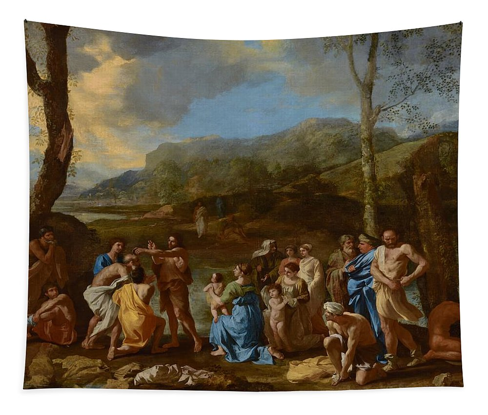 Painting Tapestry featuring the painting Saint John Baptizing In The River Jordan by Mountain Dreams