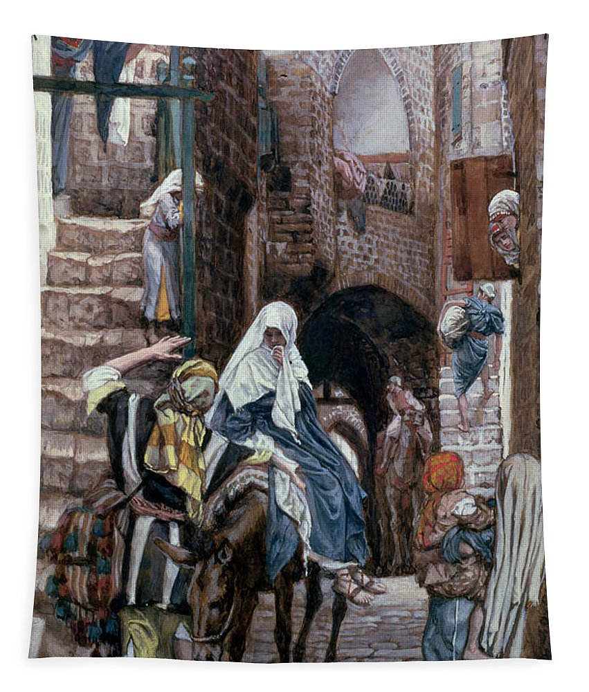 Joseph Tapestry featuring the painting Saint Joseph Seeks Lodging In Bethlehem by Tissot