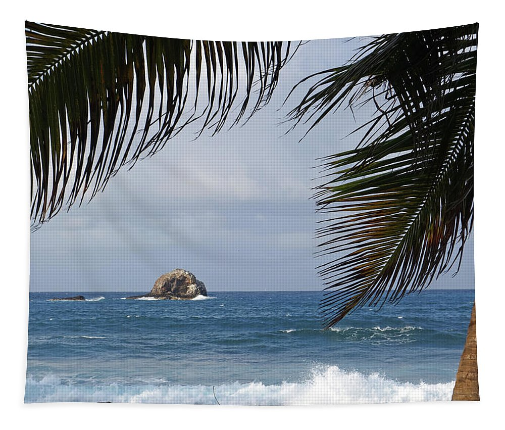 Saint Tapestry featuring the photograph Saint Lucia Palm Tree Small Rock Caribbean Flowing by Toby McGuire
