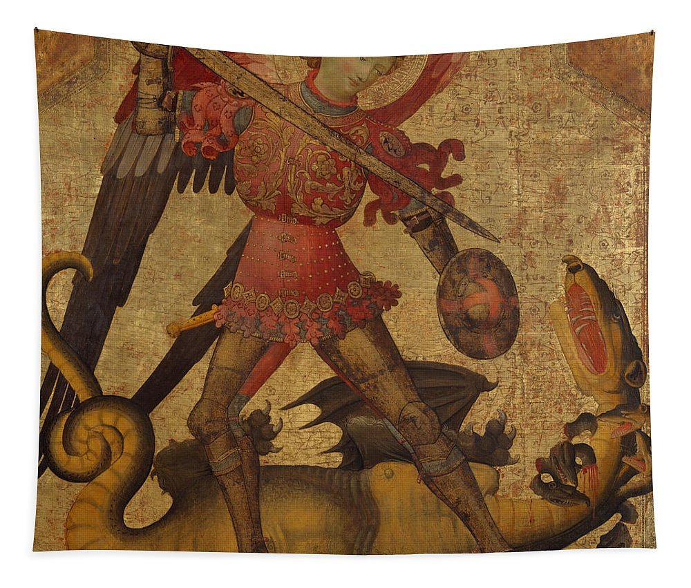 Saint Michael And The Dragon Tapestry featuring the painting Saint Michael And The Dragon by Spanish School