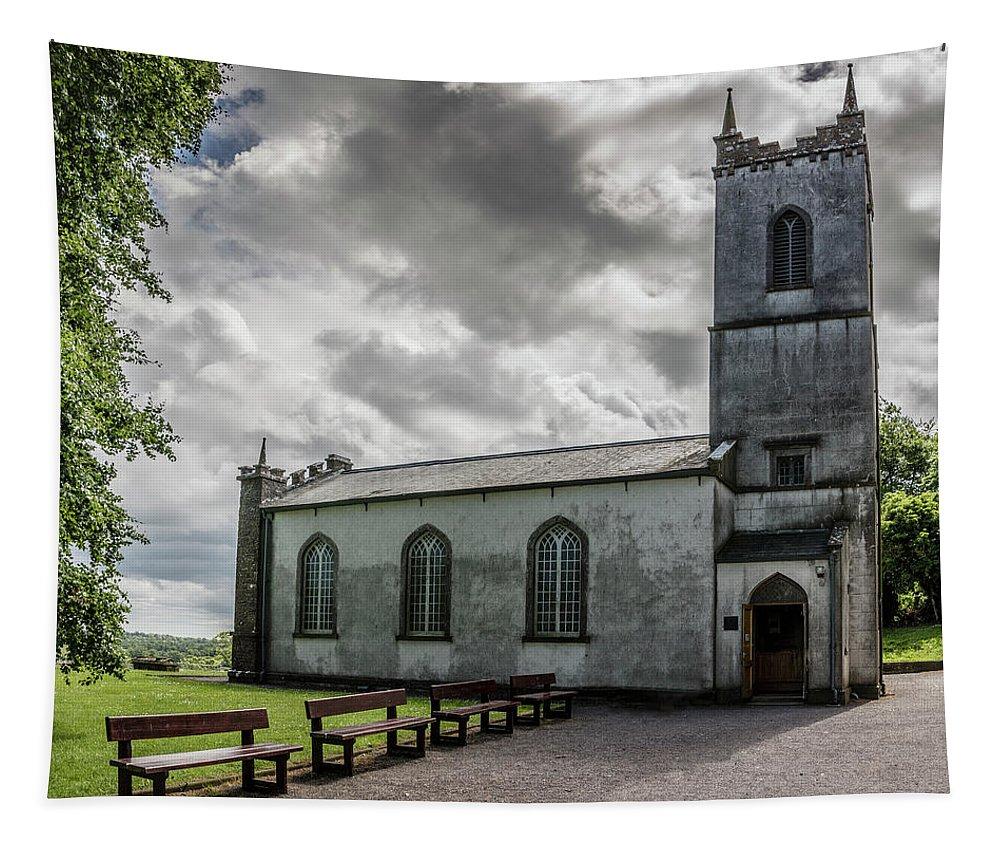 Ireland Tapestry featuring the photograph Saint Patricks Church On The Hill Of Tara by Teresa Wilson