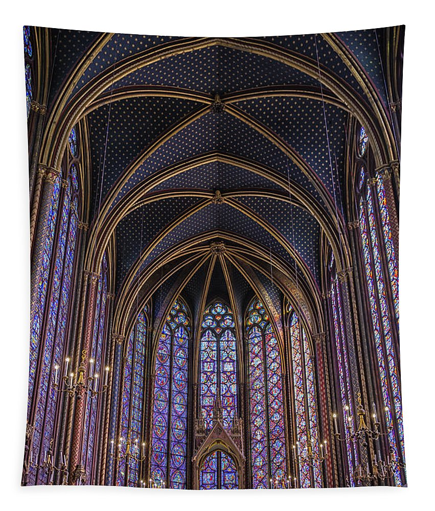 Joan Carroll Tapestry featuring the photograph Sainte Chapelle Stained Glass Paris by Joan Carroll