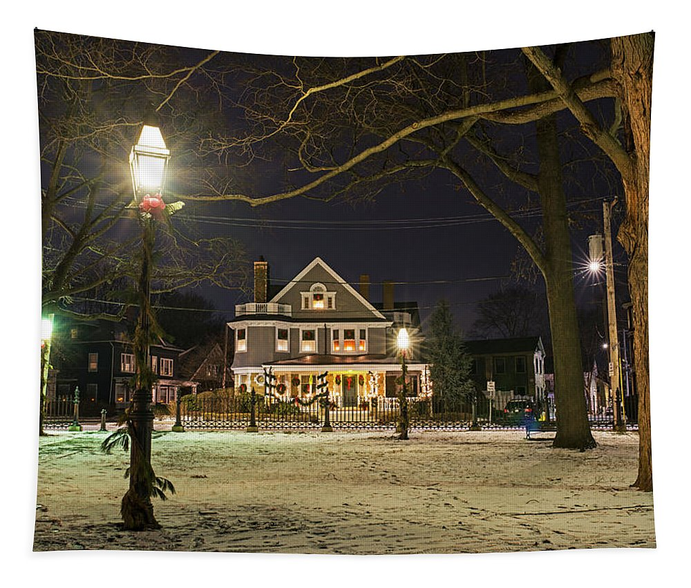 Salem Tapestry featuring the photograph Salem Commons Winter Snow At Christmas Salem Ma by Toby McGuire