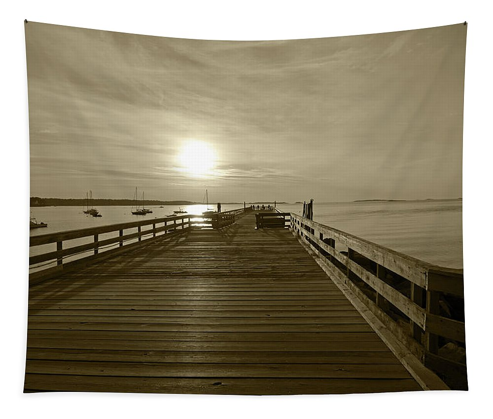 Salem Tapestry featuring the photograph Salem Willows Pier At Sunrise Sepia by Toby McGuire