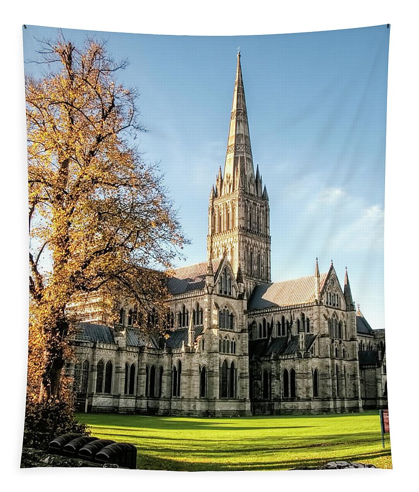 Salisbury Cathedral Tapestry featuring the photograph Salisbury Cathedral by Phyllis Taylor