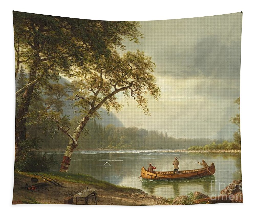 Landscape; Rural; Countryside; Canadian; Fishermen; Boat; Leisure; Calm; Peaceful; Kayak; Camp; Campfire; Fire; Kettle; Scenic; Riverbank Tapestry featuring the painting Salmon Fishing On The Caspapediac River by Albert Bierstadt
