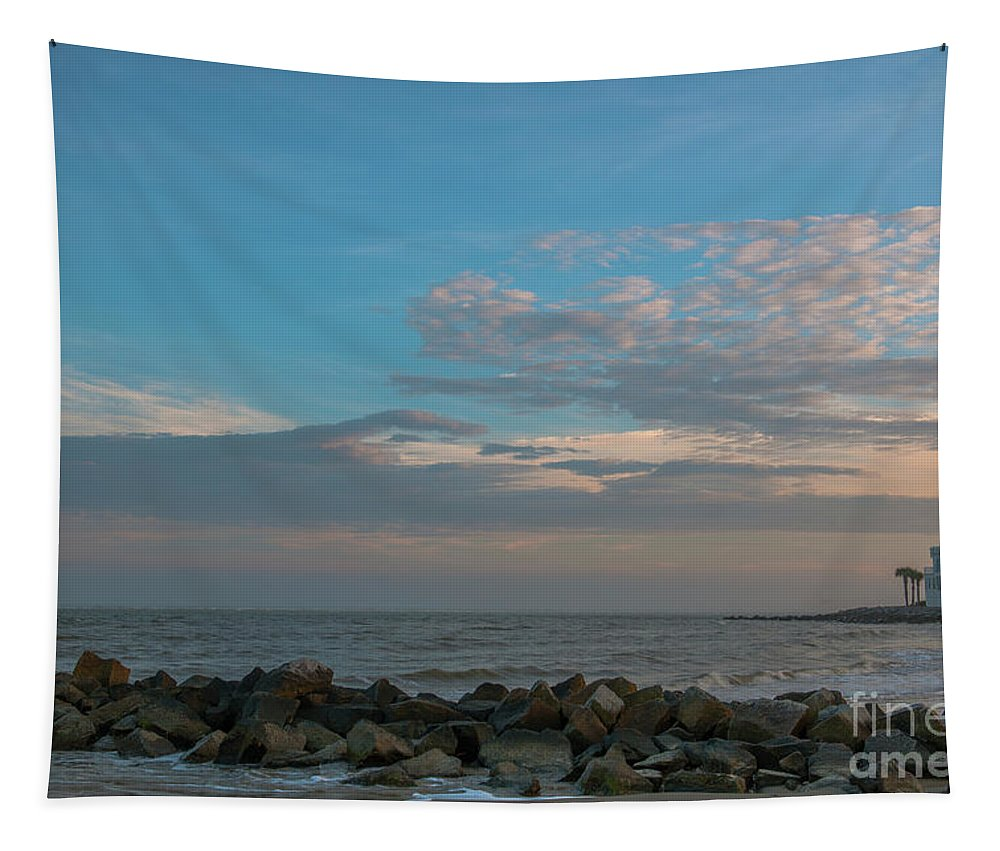 Breach Inlet Tapestry featuring the photograph Salty Air Over Breach Inlet by Dale Powell