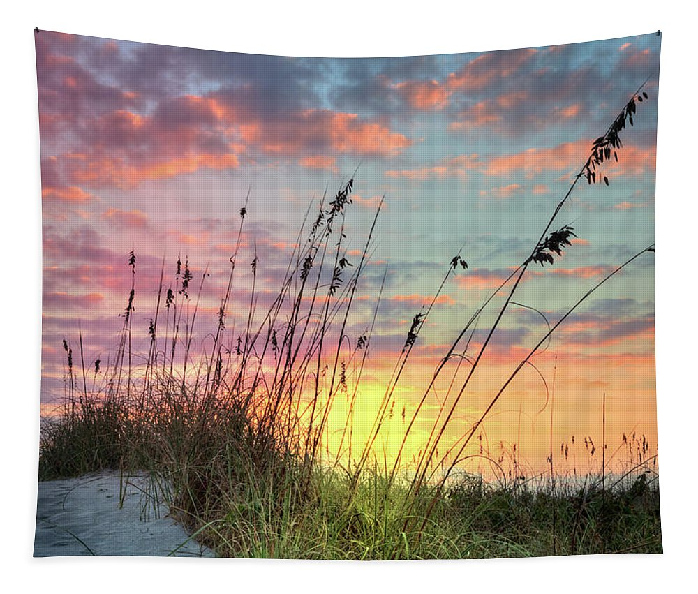 Clouds Tapestry featuring the photograph Salty Breeze On The Dunes by Debra and Dave Vanderlaan