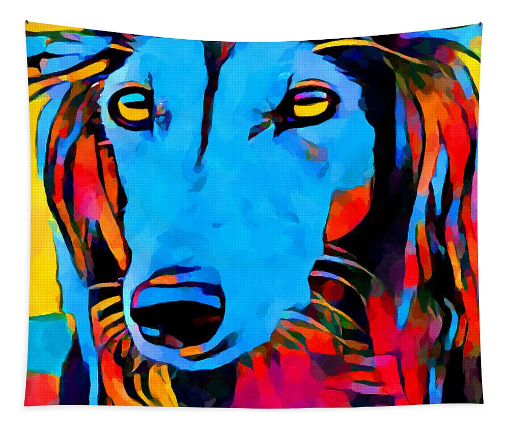 Saluki Tapestry featuring the painting Saluki Portrait by Chris Butler