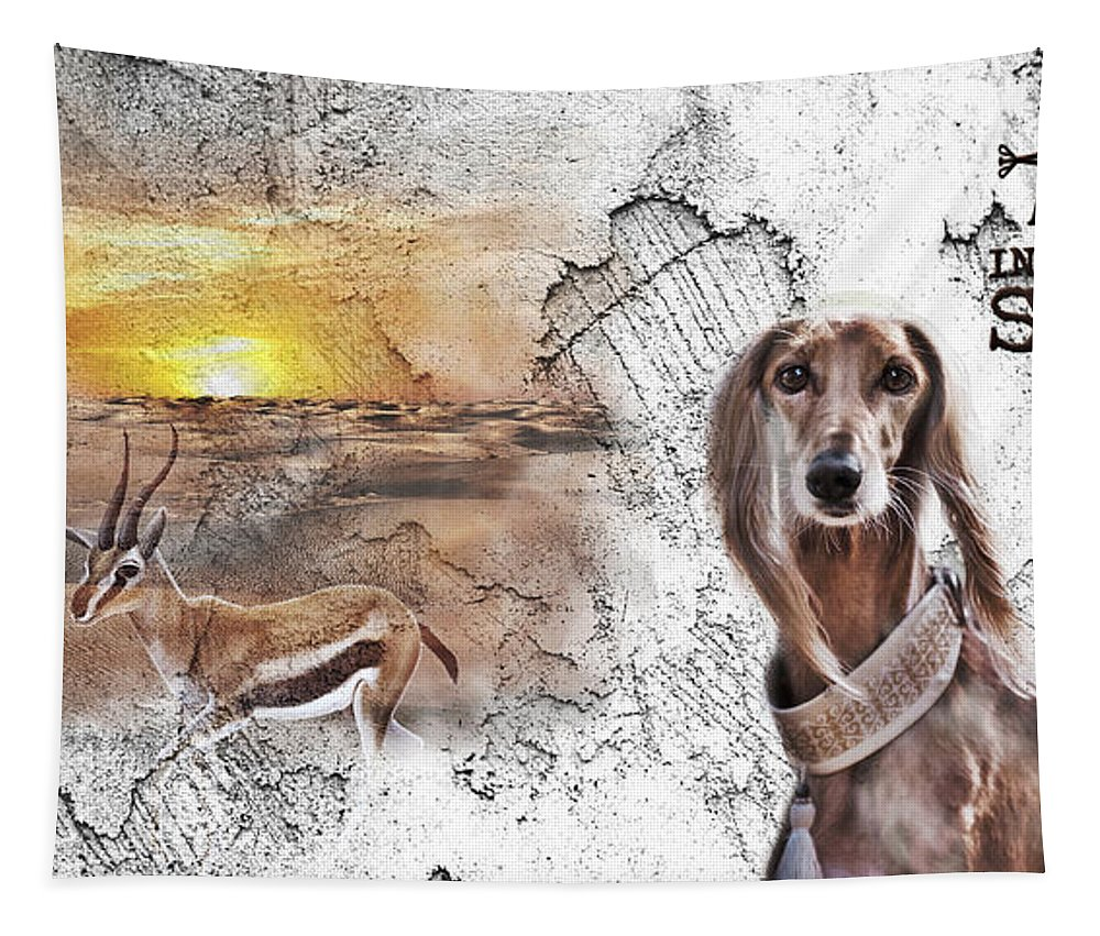 Saluki Tapestry featuring the digital art Saluki - The One And Only by Maria Astedt