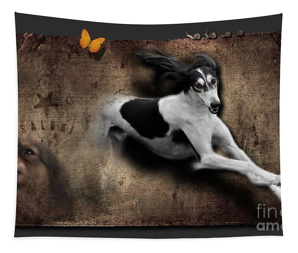 Imia Design Tapestry featuring the digital art Salukis No 02 by Maria Astedt