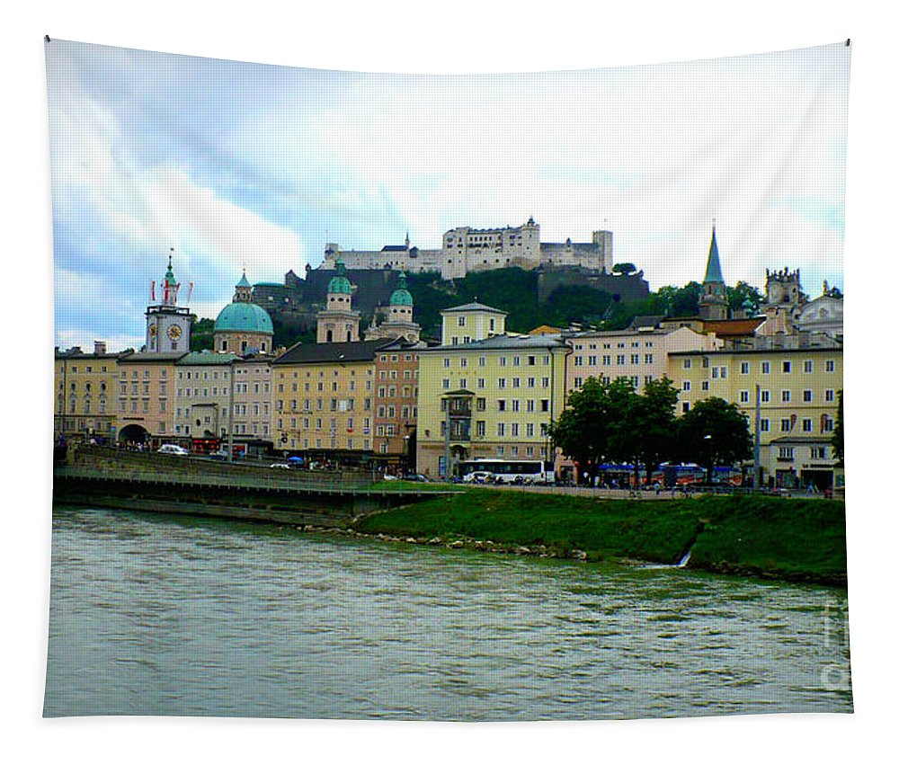 Salzburg Tapestry featuring the photograph Salzburg Over The Danube by Carol Groenen