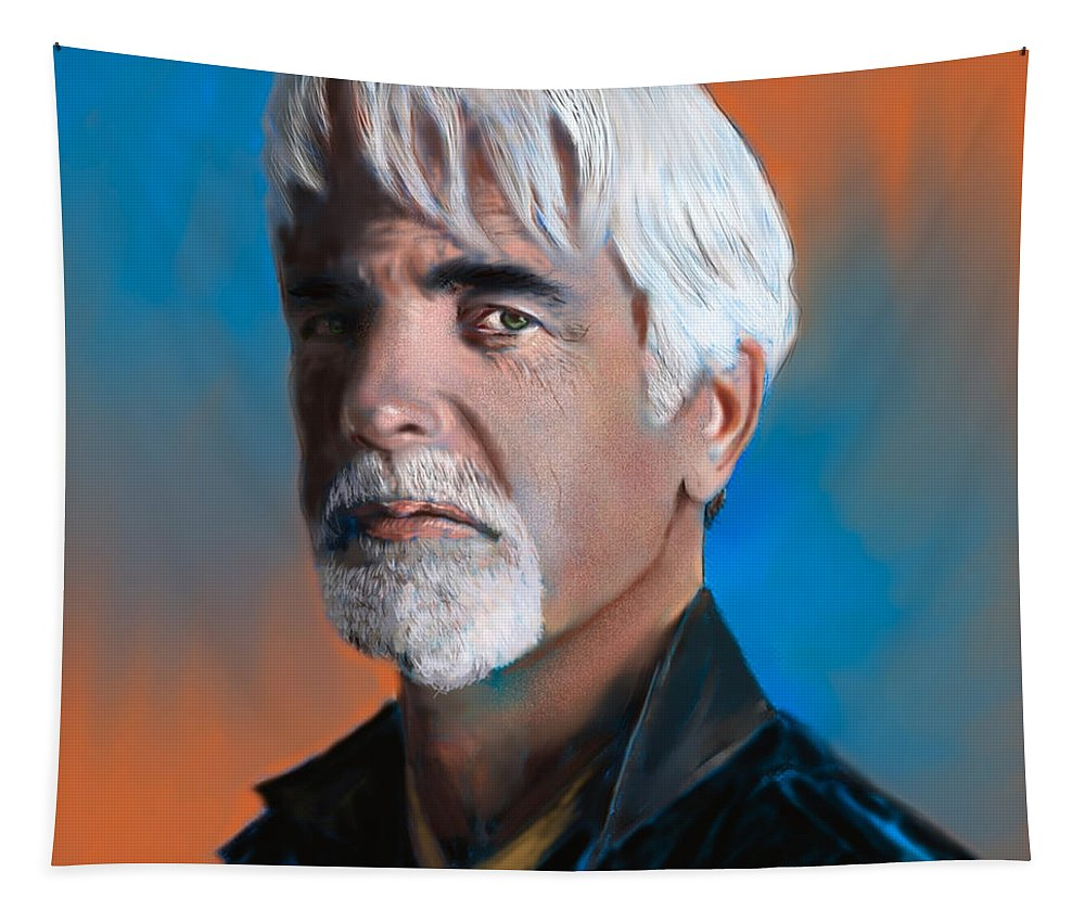 Figure Tapestry featuring the digital art Sam Elliott by Scott Bowlinger
