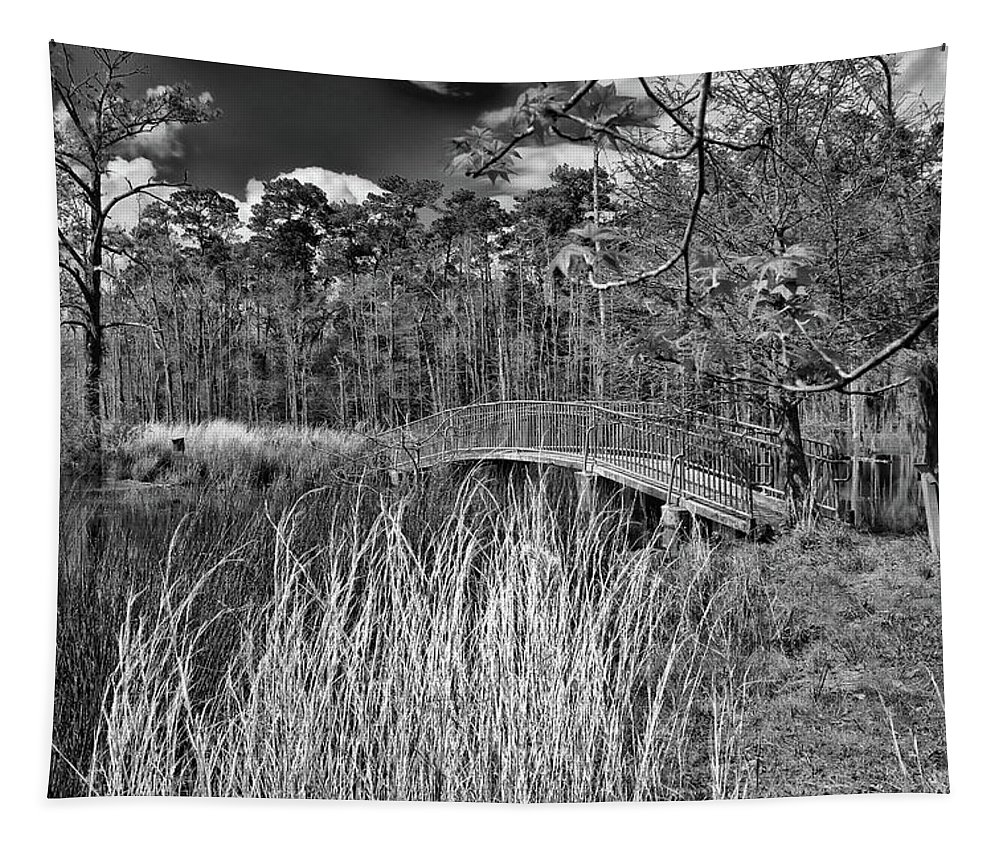 Black Tapestry featuring the photograph Sam Houston Jones State Park Bridge Bw by Judy Vincent
