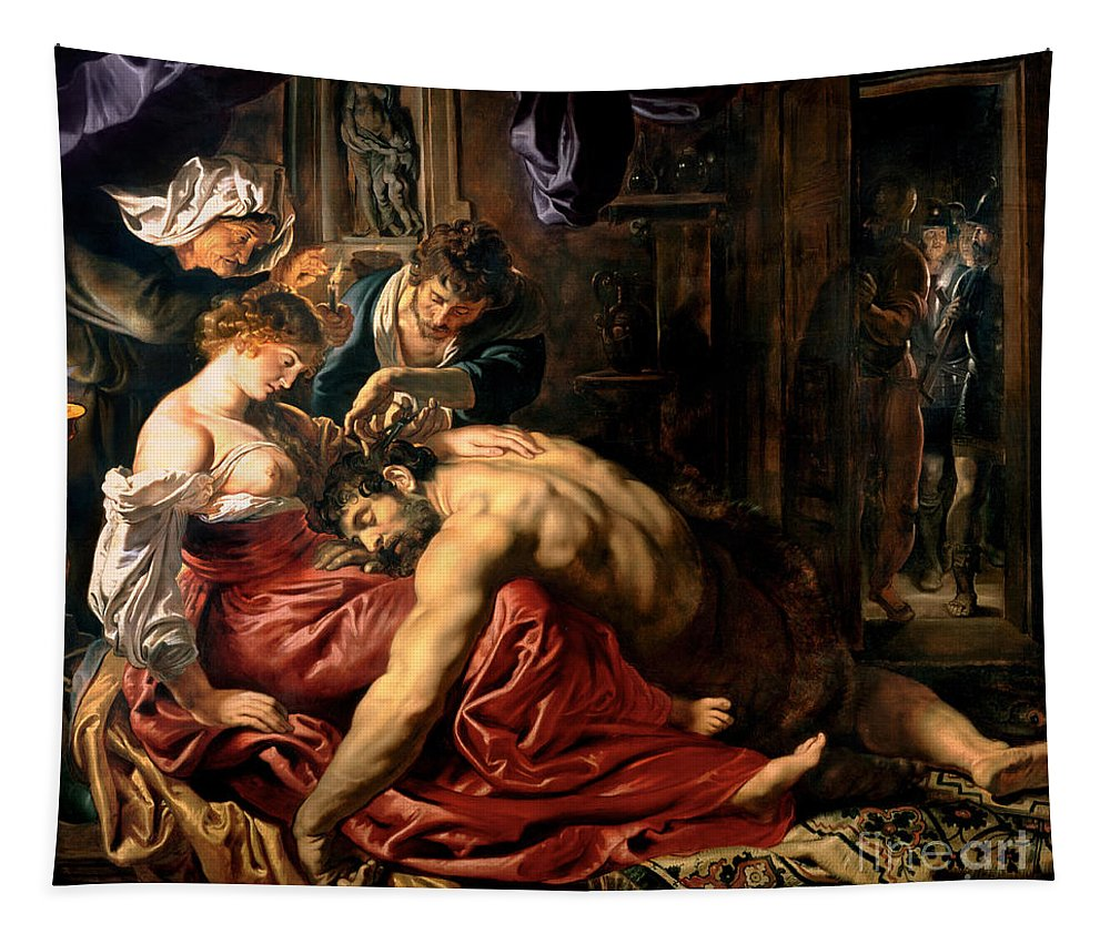 Samson Tapestry featuring the painting Samson And Delilah by Peter Paul Rubens