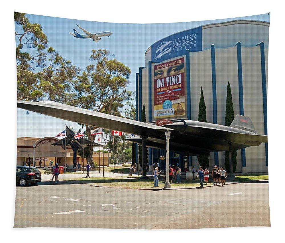 San Diego Air And Space Museum Tapestry featuring the photograph San Diego Air And Space Museum by Robert VanDerWal
