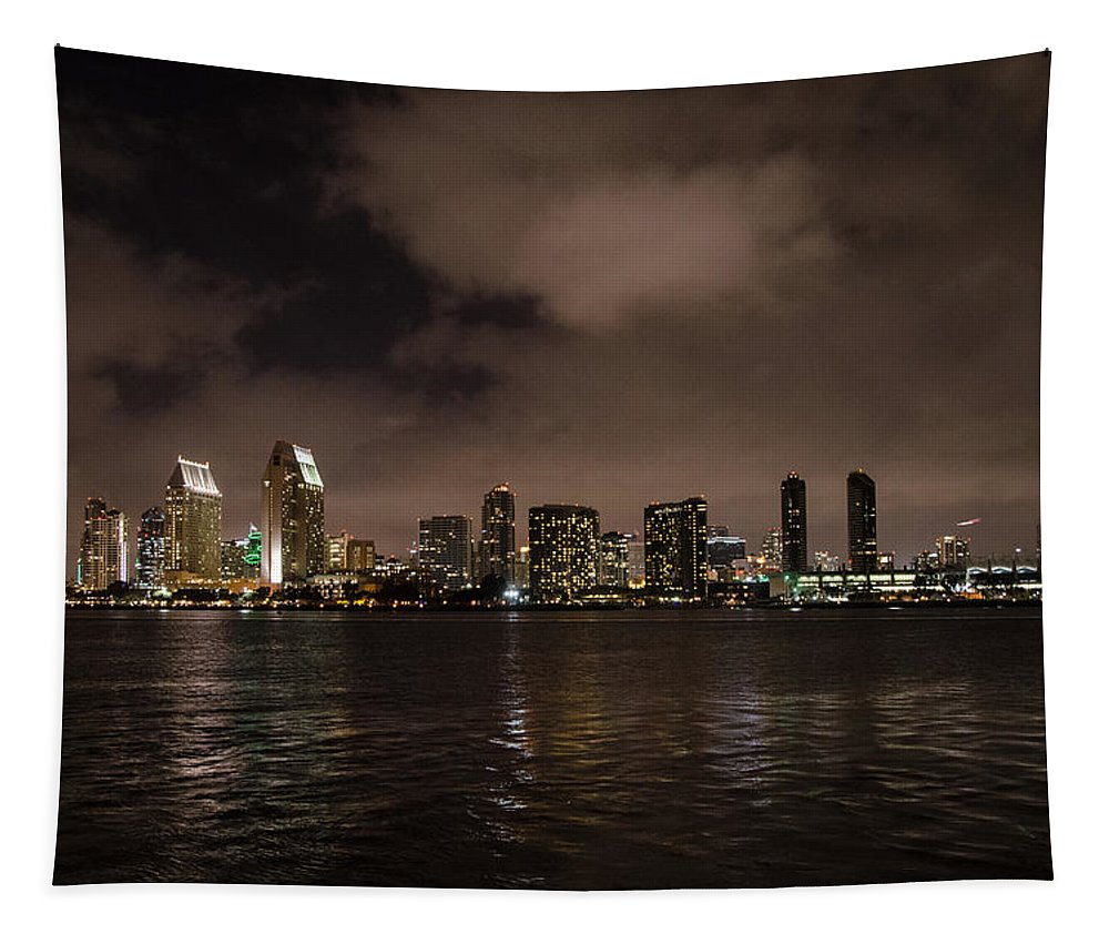 San Diego Evening Skyline Tapestry featuring the photograph San Diego Evening Skyline by Susan McMenamin
