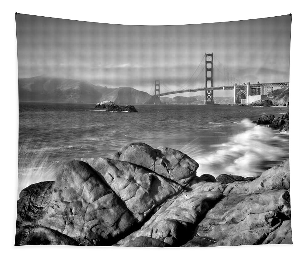 America Tapestry featuring the photograph SAN FRANCISCO Baker Beach Monochrome by Melanie Viola