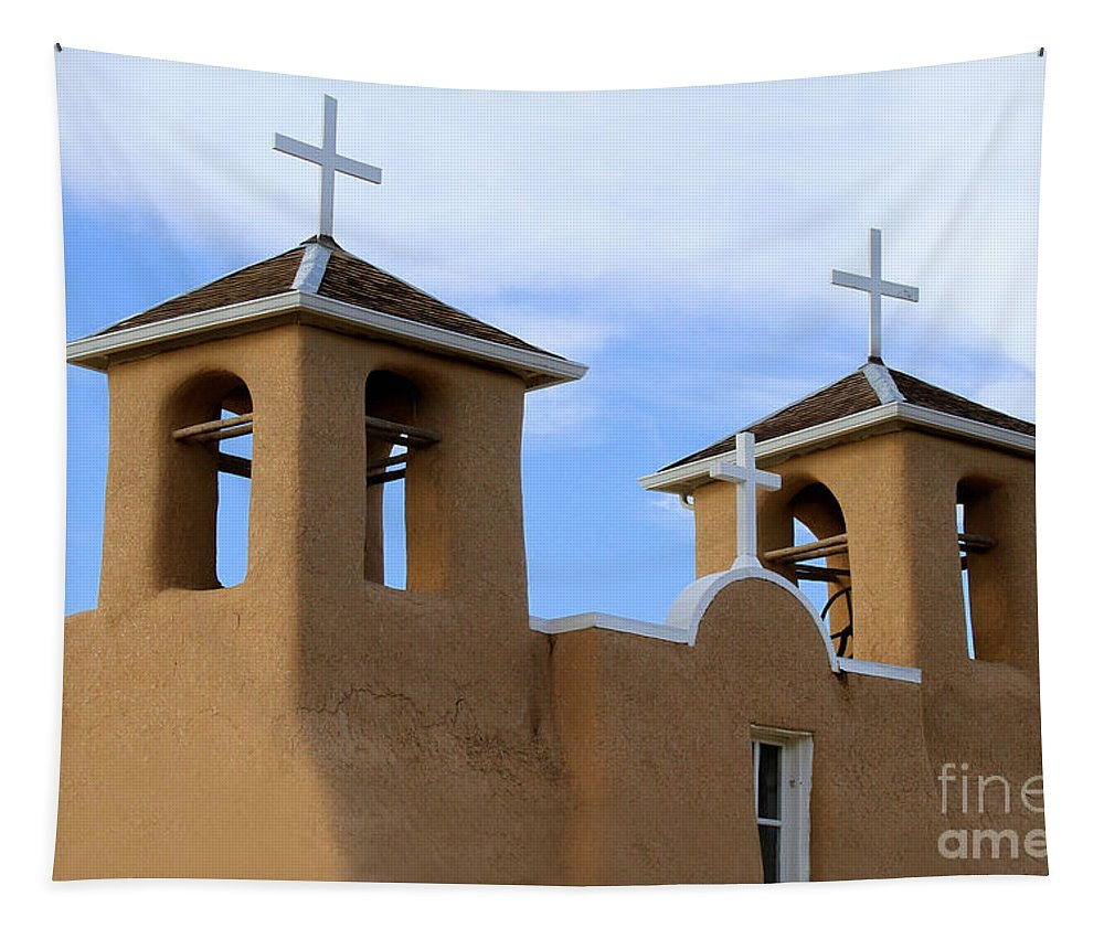 San Francisco De Asis Mission Tapestry featuring the photograph San Francisco De Asis Mission Bell Towers by Catherine Sherman