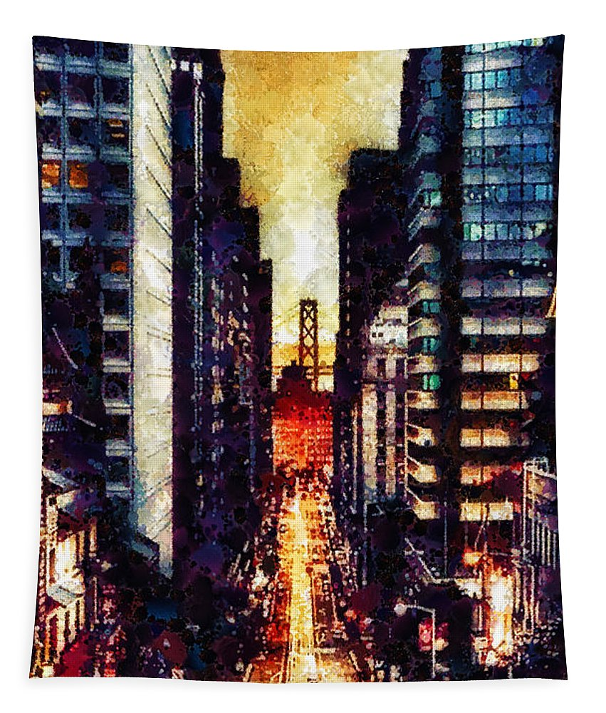San Francisco Tapestry featuring the painting San Francisco by Mo T