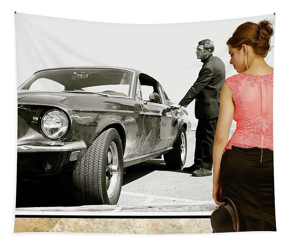San Francisco Museum Of Art Tapestry featuring the photograph San Francisco Museum Of Art, Frank Bullitt, Steve Mcqueen, Ford Mustang Gt 390, Fastback by Thomas Pollart
