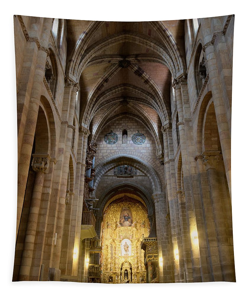 Joan Carroll Tapestry featuring the photograph San Vicente Basilica Interior Avila Spain by Joan Carroll