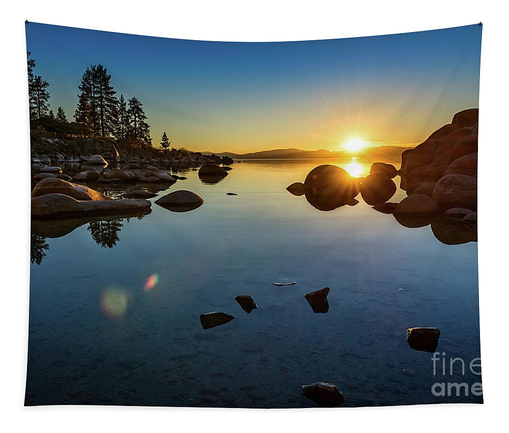 Sand Harbor Tapestry featuring the photograph Sand Harbor Sunset by Jamie Pham