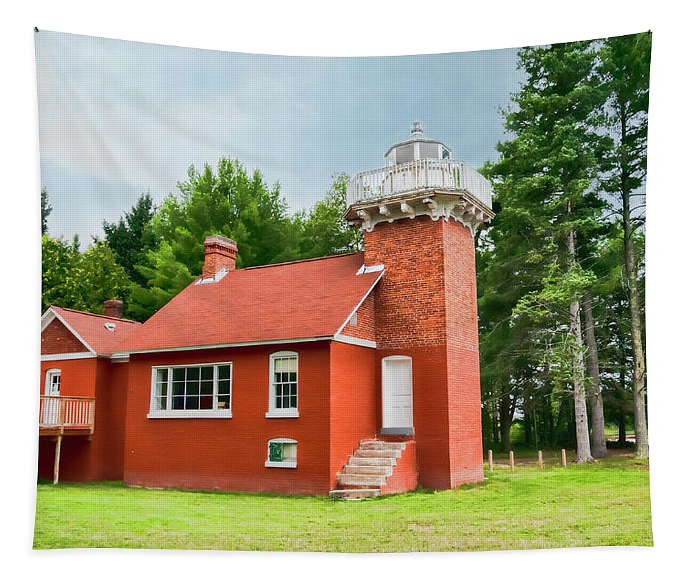 Sand Point Light Station On Keweenaw Bay Tapestry featuring the photograph Sand Point Lighthouse - Baraga by Phyllis Taylor