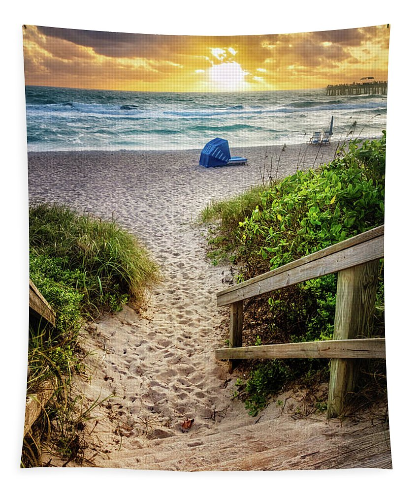 Clouds Tapestry featuring the photograph Sandy Walk Down To The Beach by Debra and Dave Vanderlaan
