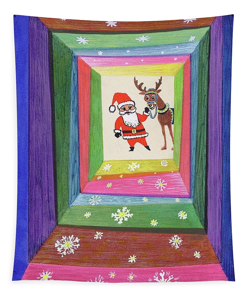 Santa Claus Tapestry featuring the painting Santa And His Reindeer by Stanley Cooke