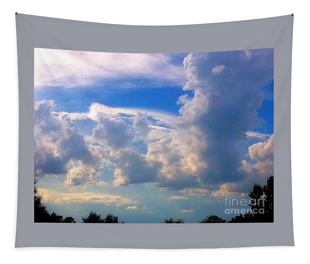 Sky Tapestry featuring the photograph Santa And Reindeer As Cloud Figures by Debra Lynch
