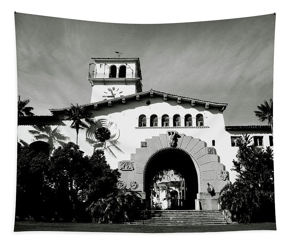 Santa Barbara Tapestry featuring the mixed media Santa Barbara Courthouse Black And White-by Linda Woods by Linda Woods