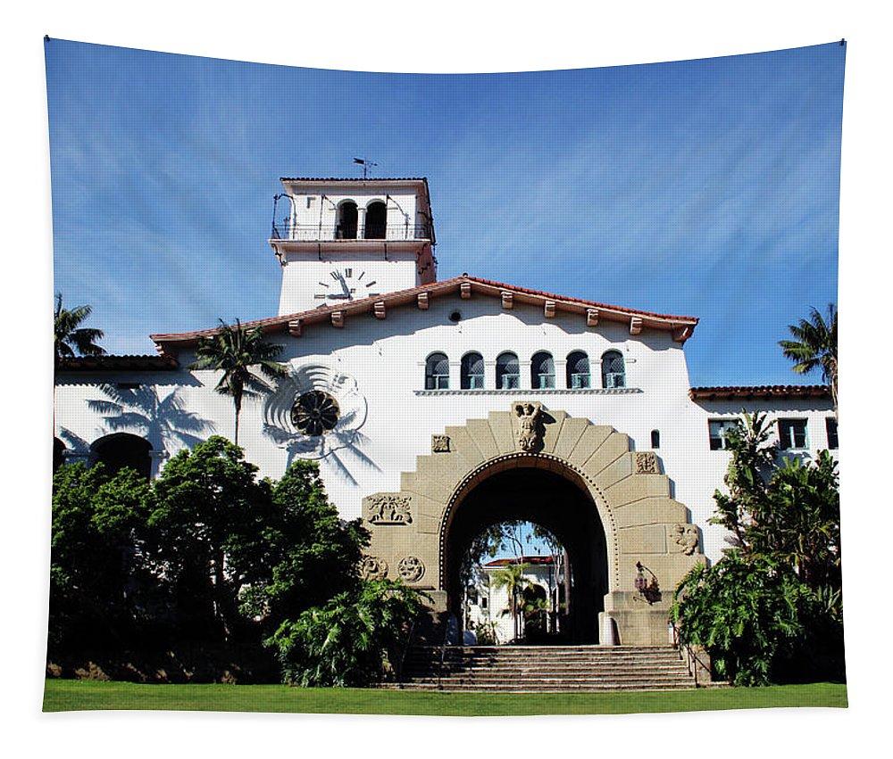 Santa Barbara Tapestry featuring the mixed media Santa Barbara Courthouse -by Linda Woods by Linda Woods