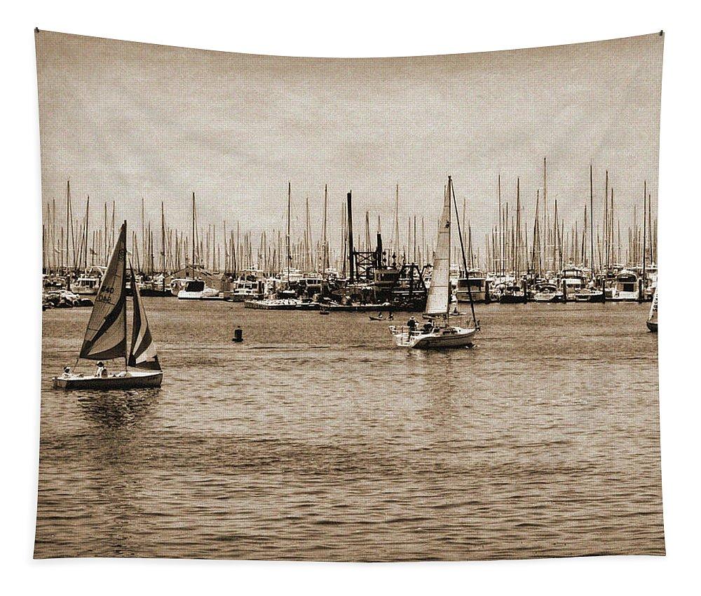 Santa Barbara Tapestry featuring the photograph Santa Barbara Harbor Sepia by Judy Vincent