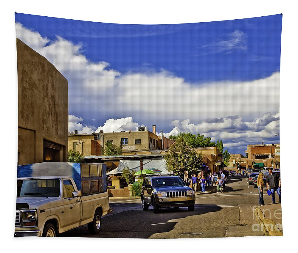 Santa Fe Tapestry featuring the photograph Santa Fe Plaza 2 by Madeline Ellis