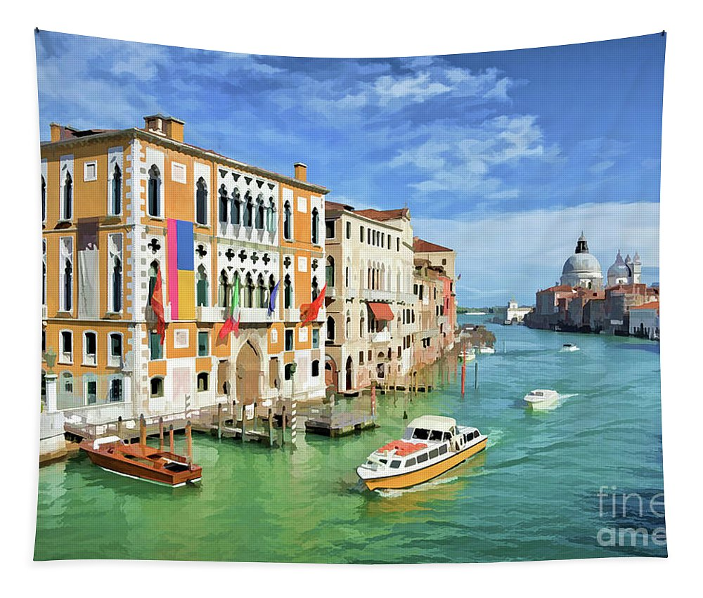 Venice Tapestry featuring the painting Santa Maria by Delphimages Photo Creations