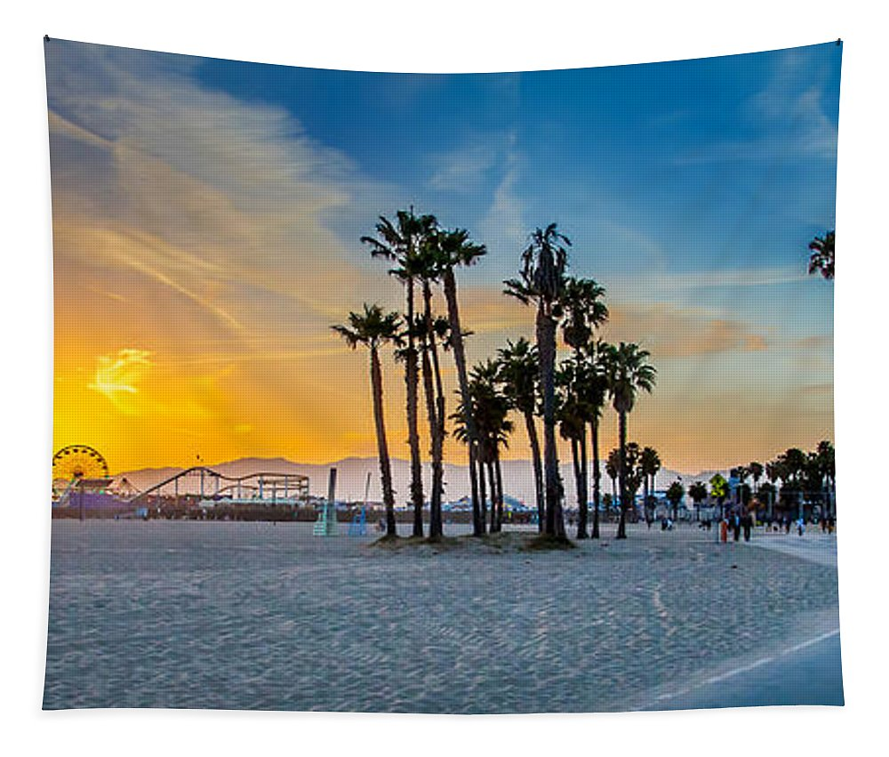Los Angeles Tapestry featuring the photograph Santa Monica Sunset by Az Jackson