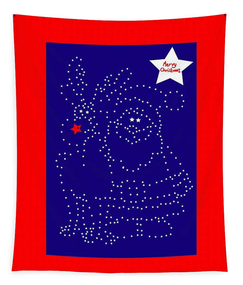 Greetings Card Christmas Color Blue Tapestry featuring the digital art Santa Rudolph Stars Blue 2 by Eddie Barron