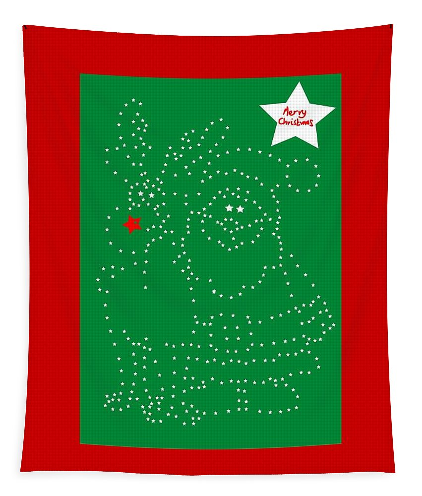 Greetings Card Christmas Color Green Tapestry featuring the digital art Santa Rudolph Stars Green by Eddie Barron